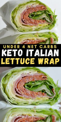 Crunchy iceberg lettuce is wrapped around thick slices of pepperoni, salami and smoked Gouda! At about 3 net carbs this Italian lettuce wrap is the ultimate low carb, keto friendly lunch!  #keto #lowcarb #mealprep Wrap Recipes, Healthy Dinner Recipes, Low Carb Recipes, Delicious Meals, Yummy Recipes, Yummy Food, Low Carb Side Dishes, Side Dishes Easy, Best Italian Recipes