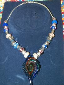 Blue & White beaded necklace w/scalloped glass focal - $30 + s/h