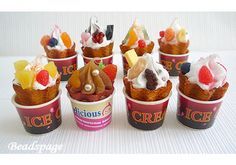 ♥ MINIATURE ICE CREAM ♥ This listing is for 1 soft ice cream waffle cone in tub. Dolls not included.   Quantity = 1 piece (design randomly packed)