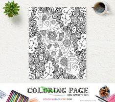 #ColoringPage #LOVE Instant Download #ArtPrint #Zen #Printable #AntiStress #DIY #ColoringBooks