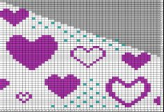 Tricksy Knitter Charts: baby blanket girly hearts - center