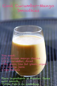 Cool Cucumber-Mango Smoothies.  Fast, fresh, sugar-free, and perfect for back to school