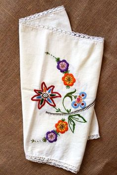 Vintage Embroidered Floral Table Runner, Tea Towel via Etsy $12