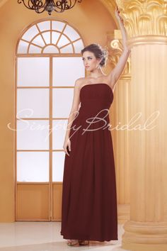 #85143 - Floor-Length Fitted Strapless Chiffon Dress - Bridesmaid Dress - Simply Bridal