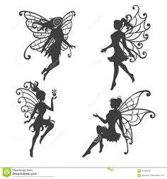 Illustration about Set of beautiful Fairy silhouettes. Black and white vector collection. Illustration of woman, fairy, vector - 121203755 Fairy Lights In A Jar, Fairy Jars, Fairy Silhouette, Silhouette Clip Art, Tatto Floral, Small Fairy Tattoos, Fairy Templates, Free Adult Coloring, Fairies Photos