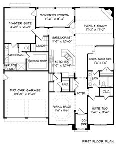 First Floor Plan of Bungalow Craftsman Tudor House Plan 53832