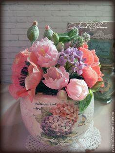 Купить Интерьерная композиция - бледно-розовый, цветы из полимерной глины, букет из полимерной глины