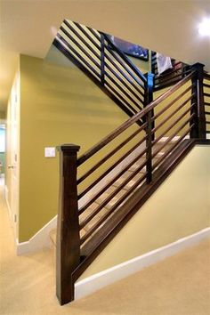 Craftsman/Mission Stairs - traditional - basement - salt lake city - by Renovation Design Group Staircase Makeover, Staircase Railings, Wood Stairs, House Stairs, Staircase Design, Basement Stairs, Staircase Ideas, Basement Ideas, Banister Ideas