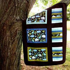 Zoo Animals Baby Blanket Brown Periwinkle Green by TwiggyandOpal, $39.00