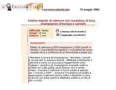 """Fettine tiepide di Salmone con insalata di Funghi - """"www.trovaricette.net"""" Maggio 2006"""