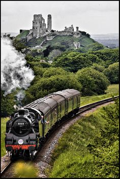 "Corfe Castle & Swanage Railway ~ Dorset, England (The first thing I thought when I saw this picture was ""Hogwarts Express!"")"