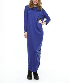 Love this Electric Blue Ruched Maxi Dress on #zulily! #zulilyfinds