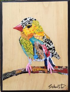 Torn paper collage by Karla Schuster! Very Nice!