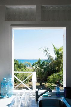 A CARIBBEAN SUMMER HOME AT ST. BARTH View from the kitchen window. No window use a poster that looks a window with a view