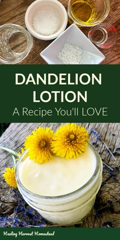 Make Natural Dandelion Body Cream and Lotion: You'll Never Go Back to Store-Bought Lotion Again — Home Healing Harvest Homestead - Here is a natural, homemade body lotion recipe you're going to love! Infused with dandelion flowe - Homemade Body Lotion, Homemade Skin Care, Homemade Beauty Products, The Body Shop, Make Natural, Natural Beauty, Dandelion Recipes, Lotion Bars, Beauty Recipe