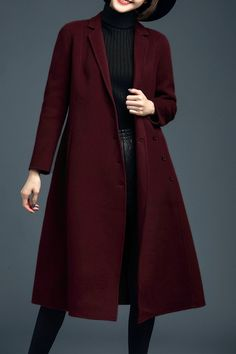 Asymmetrical Double Breasted Wool Coat