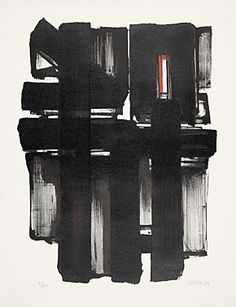 """Pierre Soulages (Born 1919 Rodez) """"Lithography No. 2"""" Colour lithograph 1957 66 x 50.5 cm Fig. 57 x 42.5 cm"""