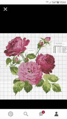 Cross Stitch Bird, Cross Stitching, Cross Stitch Patterns, Creative Embroidery, Pretty Flowers, Pink Roses, Needlepoint, Diy And Crafts, Sewing