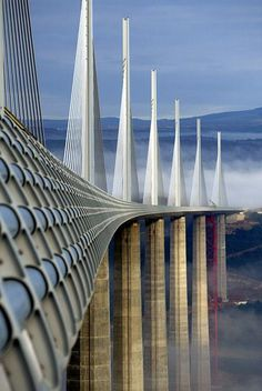 The Millau Bridge is in southern France and crosses the River Tarn in the Massif Central mountains.