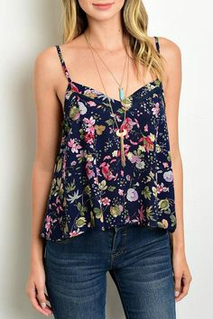 Floral print top, V neck line, adjustable spaghetti straps, open corset tie back detail.   Floral Print Tank by Lux Boutique. Clothing - Tops - Tees & Tanks Massachusetts
