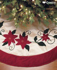 Adjustable Christmas Tree Skirt Red Gold Poinsettia Deep Red Velvet Border New Buy Christmas Tree, Christmas Skirt, Xmas Tree, Christmas Stockings, Christmas Holidays, Christmas Stuff, Merry Christmas, Slim Tree, Holiday Crafts