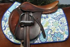 Blue and Green Floral All Purpose English Saddle Pad