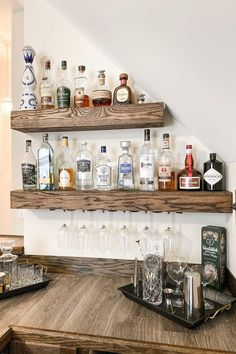 Diy Bar, Diy Home Bar, Home Bar Decor, Bars For Home, In Home Bar Ideas, Mini Bar At Home, Home Bar Rooms, Bar Shelves, Liquor Shelves