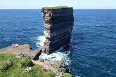 Dun Briste – County Mayo, Ireland. Dun Briste is a stunning sea stack located off Downpatrick Head in County Mayo in Ireland. The stack stands about 50 meters in height and towers above the North Atlantic Ocean. Visitors and not only greeted by the incredible sights, but also by the areas various sea birds who nest on the cliffs. Click photo to play sound from www.thetouchofsound.com.