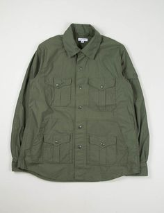Engineered Garments Olive Reversed High Count Sateen Penn Shirt Jacket