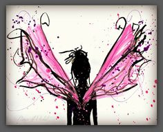 Pink Fairy Art Print Painting of Wings 8x10 by PeaceofViolet, $18.00