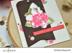 Hello everyone! I'm sharing a simple card featuring Hibiscus Bouquet Stamp Set. Hibiscus Bouquet, Altenew, Hello Everyone, Happy Birthday, Bloom, Cards, Stamps, Image, Happy Brithday