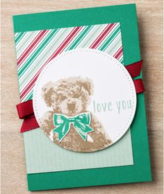Baby Bear is great for more than just baby gifts! Use him all year long. Instructions and supplies needed for this card are included. #stampinup #stitchedwithlove