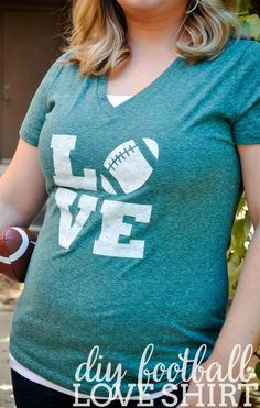 Are you ready for some football? Not without this shirt, you're not! This easy DIY Football Love Shirt is perfect for all your game day fun! | The Love Nerds