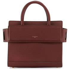 Givenchy Horizon Mini Leather Satchel Bag ($1,990) ❤ liked on Polyvore featuring bags, handbags, medium brown, givenchy handbags, satchel handbags, red leather purse, brown leather handbags and red purse