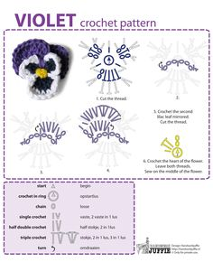 Violet, free tutorial by Handwerkjuffie, Chart with Dutch and English explanations.