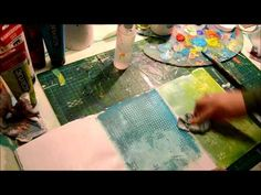 "Pinner says: This is how i create some of my art journal backgrounds using acrylic paint, Water in a ""spray pump"" and different stencils. Enjoy ;)  For more inspiration visit my blog http://doodlediem.blogspot.com/"