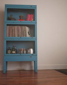 FREE SHIPPING - Vintage Steel Barrister Bookcase - bright blue