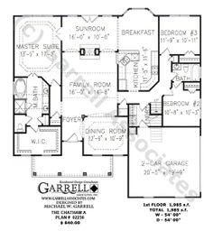 Chatham A Plan # 02236, 1st Floor Plan, Ranch Style House Plans, One Story House Plans, Traditional Style House Plans.