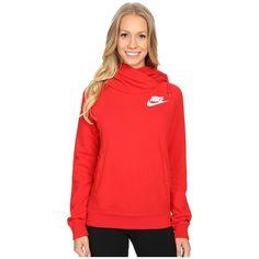 Nike Rally Funnel Neck Hoodie Women's Sweatshirt ($65) ❤ liked on Polyvore featuring tops, hoodies, long hoodie, funnel neck hoodie, red hoodie, hoodies pullover and nike hoodie