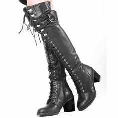 Women Black Leather Lace Up Thigh High Heel Military Goth Riding Boots SKU-11405422 only $299.99!