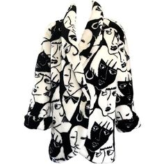 Rihanna's Rare Vintage Picasso Esque Face Print Black and White Faux... (413.200 HUF) ❤ liked on Polyvore featuring outerwear, jackets, black and white faux fur jacket, black and white jackets, faux fur jacket, print jacket and black white jacket