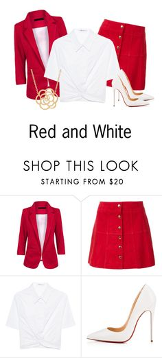 """""""Red And White"""" by raven-writer on Polyvore featuring Ines de la Fressange, T By Alexander Wang, Christian Louboutin and Lord & Taylor"""