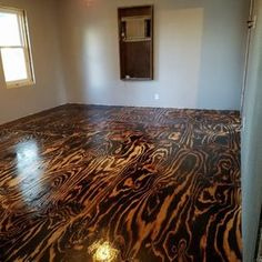 Plywood Sheet Flooring, Bob Schoenfelder, Burned Plywood Floor, Featured On Remodelaholic Plywood Plank Flooring, Plywood Subfloor, Diy Flooring, Bedroom Flooring, Hardwood Floors, Burnt Plywood Floors, Laminate Flooring, Pallet Floors, Small Cafe Design