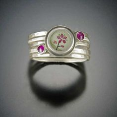 Plum Blossom and Ruby Stacking Ring Set