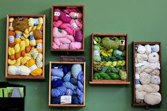 Nice idea for shadow boxes and the fact that I can't knit but still collect wool ;-)