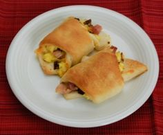 Breakfast Bites, crescent roll, egg, ham and cheese!!