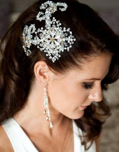 Wedding Hair Piece. Obviously one that's smaller but I like that it's mostly down and pinned back on one side