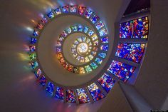 'Glory Window,' Chapel of Thanksgiving, Dallas, Texas. A spiral stained glass window on the ceiling! Very cool!