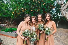 Hand tied bouquet of blush tea roses, succulents and seeded eucalyptus with a natural ribbon brown bridesmaid dresses. The Sparrows Hotel Palm Springs Wedding.