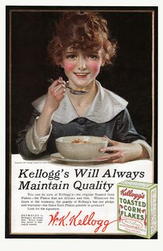 Vintage Illustrations Kelllogg ad - J. Kellogg sold thousands of boxes of corn flakes with Leyendecker's artwork. Vintage Ephemera, Vintage Postcards, Vintage Ads, Vintage Prints, Vintage Food, Vintage Magazines, Vintage Kitchen, Old Advertisements, Retro Advertising